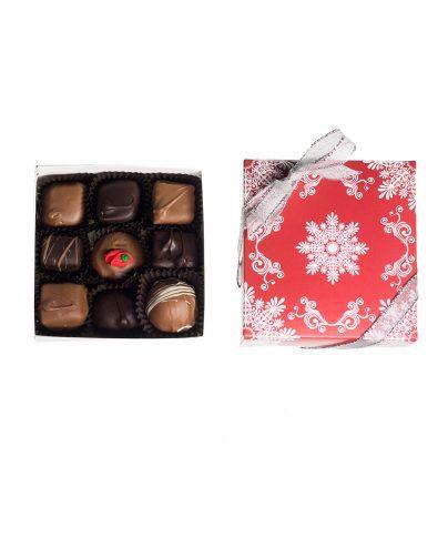 9 Piece Chocolate Assortment in Snowflake Box_AC-0926